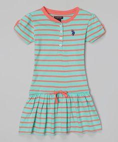 Look what I found on #zulily! Frozen Aqua Stripe Drop-Waist Dress - Toddler #zulilyfinds