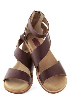 Solo Traveler Sandal - Brown, Solid, Cutout, Studs, Flat, Leather, Casual, Boho, Summer