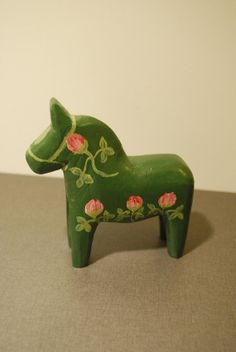 Vintage Swedish Green Dala Horse