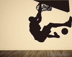 Playing Basketball Wall Decal, Michael Jordan Vinyl Wall Art & Sports Man Wall Stickers#S10