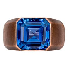 Hemmerle 14.80 Carat Ceylon Sapphire Ring | From a unique collection of vintage solitaire rings at https://www.1stdibs.com/jewelry/rings/solitaire-rings/