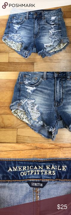 American Eagle Hi-Rise Festival Stretch Shorts American Eagle Hi-Rise Festival Jean Stretch Shorts. With embellished pockets. Worn and washed. Smoke/animal free home. American Eagle Outfitters Shorts Jean Shorts