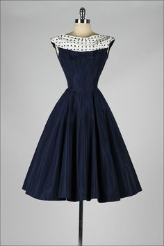 vintage 1950s dress . navy blue . polka dot by millstreetvintage