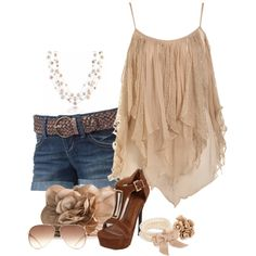 """Cute Floaty Cami /jean shorts"" by deewest on Polyvore"