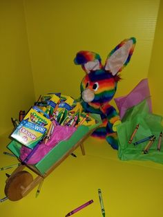 RRainbow Rabbit delivering Crayola crayons to his friends going back to school! 🖍
