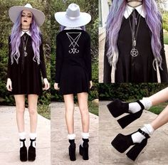 Pastel Goth outfit idea ✿ Not too sure about the shoes, though. Grunge Outfits, Pastel Goth Outfits, Pastel Punk, Pastel Goth Fashion, Dark Fashion, Kawaii Fashion, Grunge Fashion, Gothic Fashion, Cute Fashion