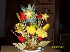 "Fruit Boquet with a pineapple ""vase""--My second try at Edible Fruit boquets : )"