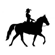 Cowgirl On horse Vinyl Decal for Car, Window bumper Tattoo Sticker ...