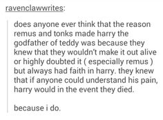 Tonks and Remus making Harry godfather over Teddy