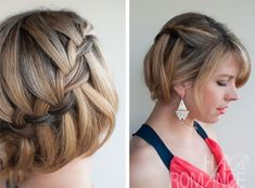 DIAGONAL BRAID SHORT HAIR | Oh the lovely things: DIY Waterfall Braided Bun by Hair Romance