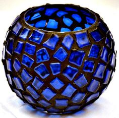 Recycled Blue Glass Mosaic Candle Holder