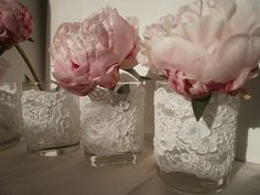 Lace Trim Candle Holders, Lace Bouquet Holders, Wedding Lace, Centerpiece Candle Holder on Etsy, $50.00