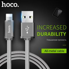 HOCO Metal Spring Charging USB Cable for Apple Lightning iPhone iPad Charger Cord for Mobile Phone OTG Data Line Sync Wire //Price: $8.88//     #onlineshop