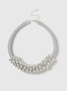 Womens Ball Cluster Rope Necklace- Silver