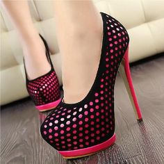Red and white high heels shoes