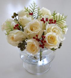 white christmas floral centerpieces