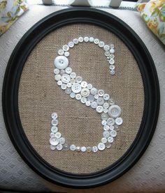 Button Monogram Letter S Vintage Buttons Burlap by EufemiaBella, $47.00