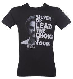 Men's Black Narcos Silver Or Lead T-Shirt : TruffleShuffle.com