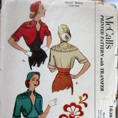 Vintage Womens Bolero Jacket And Hat Pattern With Unique Notched Neckline And Embroidery Transfer circa 1951 McCalls 1636 Sz18 UNCUT. $31.99, via Etsy.