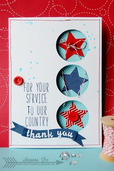 Beautiful thank you card-- great for Operation Help a Hero's Operation Rack Pack project. Veteran's Day thank you for your service card created by Suzanna Lee Veterans Day Thank You, Veterans Day Gifts, Butcher Paper, Card Making Inspiration, Making Ideas, Memorial Day, Veterans Day Coloring Page, Bottle Label, Holiday Cards