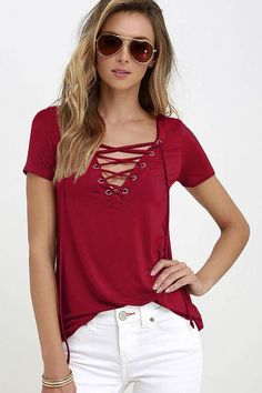 Lace Up Women's Sexy Top