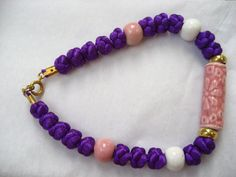 Handmade Macrame Bracelet w/ Ceramic Beads por BelleBloomVintage, $12.95