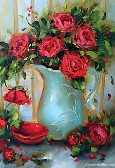 """Daily Paintworks - """"Strawberry Souffle Red Rose Bouquet and a North Texas Workshop - Flower Paintings by Nancy Medina"""" - Original Fine Art for Sale - © Nancy Medina"""