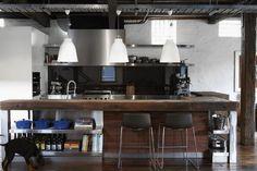 キッチン,カウンター,無垢,古木,ステンレス,雰囲気