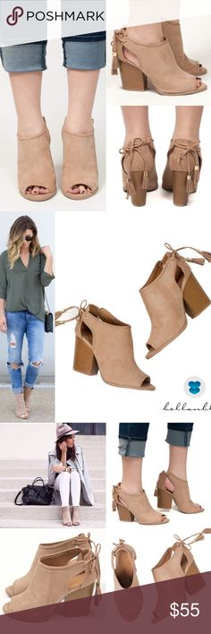 MILA ROSE cut out tassel bootie - TAUPE Faux suede. Super comfy. Fits true to size. Jazz up any outfit with these fun tassel cut out booties.   NO TRADE, PRICE FIRM Bellanblue Shoes