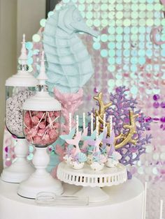 Bizzie Bee Creations 's Birthday / Mermaid - Photo Gallery at Catch My Party Mermaid Theme Birthday, Little Mermaid Birthday, Little Mermaid Parties, Mermaid Party Decorations, Birthday Party Decorations, Birthday Parties, Tea Parties, Mermaid Cake Pops, Quinceanera Themes