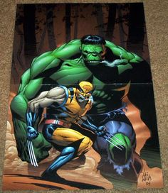 INCREDIBLE HULK VS WOLVERINE POSTER 181 LOGAN XMEN BRUCE BANNER X-FORCE AVENGERS