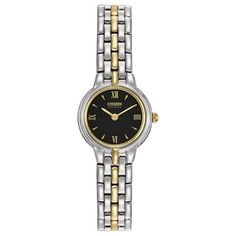 Citizen Eco-Drive Ladies' Silhouette Silver-Tone and Yellow Golden Black Dial Watch