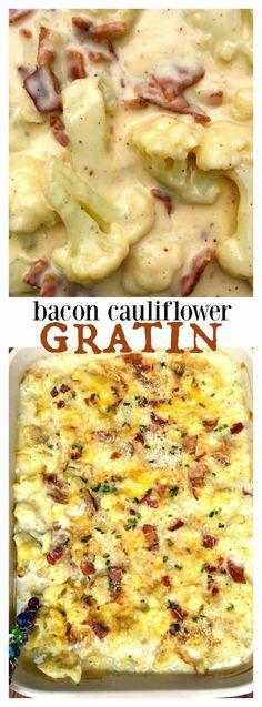 Cauliflower Bacon Gratin - delicious side dish for Easter or springtime entertaining