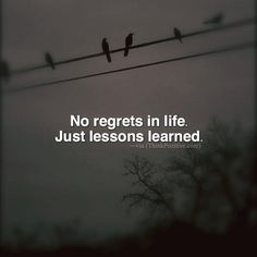 Positive Quotes : No regrets in life. Just lessons learned. via (ThinkPozitive.com)