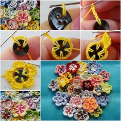 Easy to crochet button flowers for any beginners ! It's a nice idea to use out those left over buttons . #diy #crafts