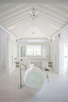 Dream hotel bathroom at Viceroy's Sugar Beach St Lucia via Islands Beach Bathrooms, Cheap Bathrooms, Hotel Bathrooms, Wood Bathroom, White Bathroom, Bathroom Ideas, Sugar Beach St Lucia, Small Bathroom Renovations, Beach Villa