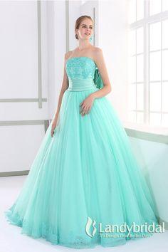 カラードレス プリンセス 取り外し式リボンとトレーン ビスチェ ミントグリーン JUL015003-g  ¥62,900