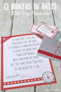 This is a fun idea for a Christmas gift! Plan one date night or activity per month for the year ahead. Great for your significant other or even your kids!
