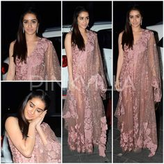 Shraddha Kapoor in Manish Malhotra  Shraddha Kapoor and Varun Dhawan came in straight from the shoot of their new film ABCD 2 at Tulsi and Hitesh's wedding reception. Shraddha wore a gorgeous floral embroidered and sequined ensemble by Manish Malhotra.