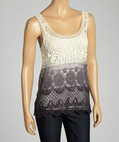 Look what I found on #zulily! Ivory & Black Ombré Crocheted Sleeveless Top by Fang #zulilyfinds