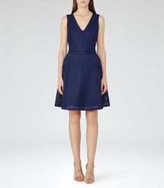 Topaz Royal Blue Textured Fit And Flare Dress - REISS