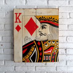 woodpainting 50 x 60 x 2 cm  #woodpainting #woodsign #homedecoration #homeandliving #vintage #alldecos #indonesia #king #playingcard