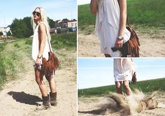 Chapnlle Fringebag, River Island Curtaindress, Asos Riveted Boots