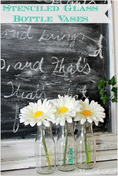 Stenciled Glass Bottle Vases - Mom 4 Real.  B-I have everything we need for this project!  what do you think?