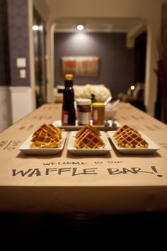 This waffle bar doesn't have to be for breakfast or brunch. Surprise your guests at an evening event with waffles! Lila Party, Festa Party, Sleepover Party, Slumber Parties, Pj Party, Pajama Party Grown Up, Adult Slumber Party, Teen Sleepover, Slumber Party Foods