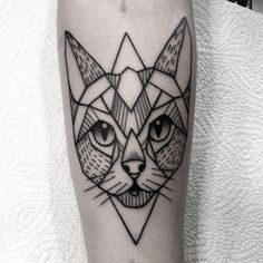 awesome Geometric Tattoo - #tattoo#simple#tattooed#inkedgirl#silesia#cat#lines#dotwork#black...