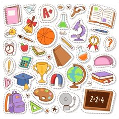 Buy School Icons Vector Stickers by Vectorssstocker on GraphicRiver. Set of different school items patches vector illustration. Journal Stickers, Laptop Stickers, Planner Stickers, Bullet Journal School, Bullet Journal Ideas Pages, Printable Stickers, Cute Stickers, Tumblr Sticker, Label Image