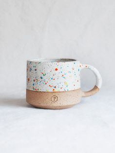 NEW Glaze Technique / Limited EditionHandmade with mixed speckled clay White & Sprinkles glazes Approximate Size: x oz Lead Free Terrazzo, Kitchen World, Thanks A Bunch, Soup Mugs, Artisanal, Earthenware, Design Crafts, Diy, Free Food
