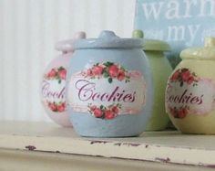 Dollhouse Miniature | Blue Rose | Cookie Biscuit | Wooden Food Canister Jar | Shabby Chic | 12th Scale