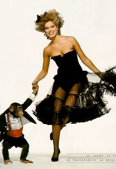 "Vogue Paris December/January 1983 ""Le Soir"" Model: Renée Simonsen Photographer: Bill King"